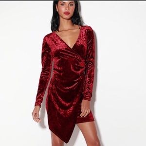 Lulu's Burgundy Dress Velvet Galiana XL NWT